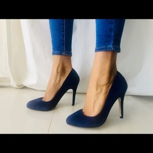 Also blue suede shoes, size 7.5
